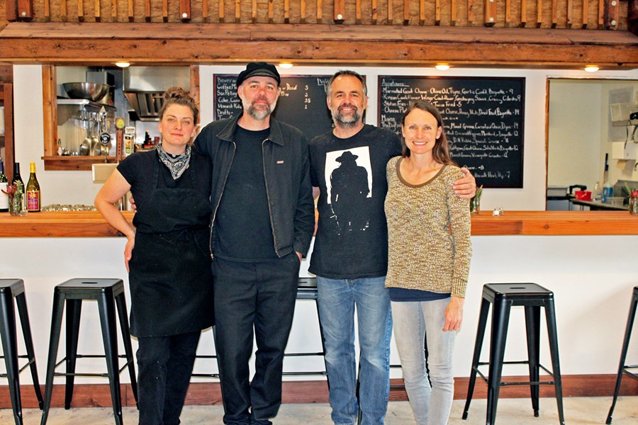 NEW OWNERS, GREAT TASTE Two couples have taken over (and tastefully spruced up) the former Last Stage West spot. From left: chef/owner Autumn King, owner/cook/handyman Daniel Fox, Los Osos contractor and property caretaker Omega Zaitz, and engineer/baker/mom/social media and branding guru Kristin Zaitz. - PHOTO COURTESY OF AUTUMN KING