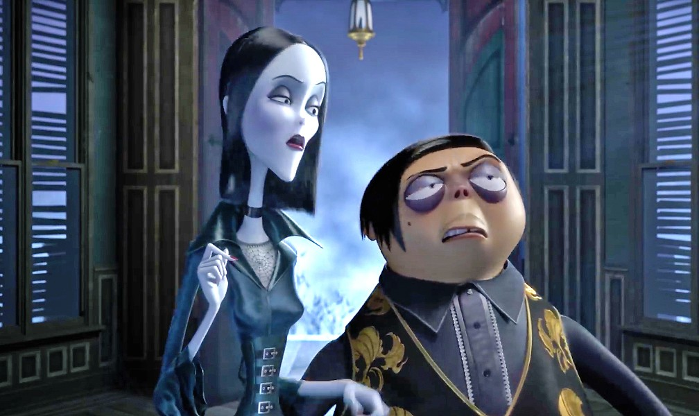 CREEPY AND KOOKY Morticia (voiced by Charlize Theron) and her husband, Gomez (voiced by Oscar Isaac), find their lives unraveling when they move their peculiar family to New Jersey, in the new animated film The Addams Family. - PHOTO COURTESY OF METRO-GOLDWYN-MAYER