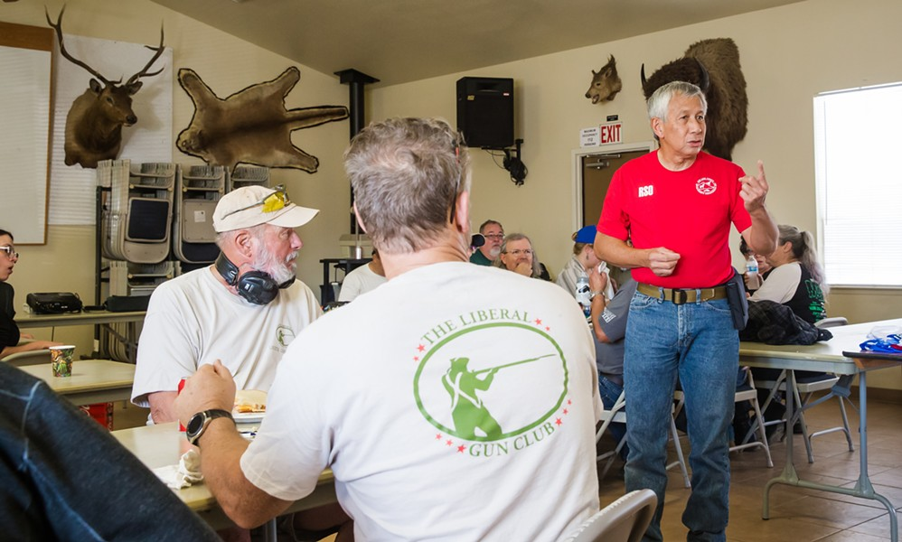 LUNCH SPEAKER SLOSA Executive Director Dave Pabinquit welcomes Liberal Gun Club members to the range, saying club members have always been wonderful and are welcome back anytime. - PHOTO BY JAYSON MELLOM