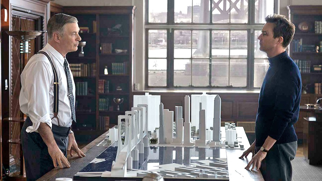 THE BETTER MAN Power hungry builder Frank Moses (Alec Baldwin, left) will stop at nothing to transform New York City, but P.I. Lionel Essrog (Edward Norton) is slowly uncovering Moses' secret, leading to a showdown. - PHOTOS COURTESY OF WARNER BROS. PICTURES