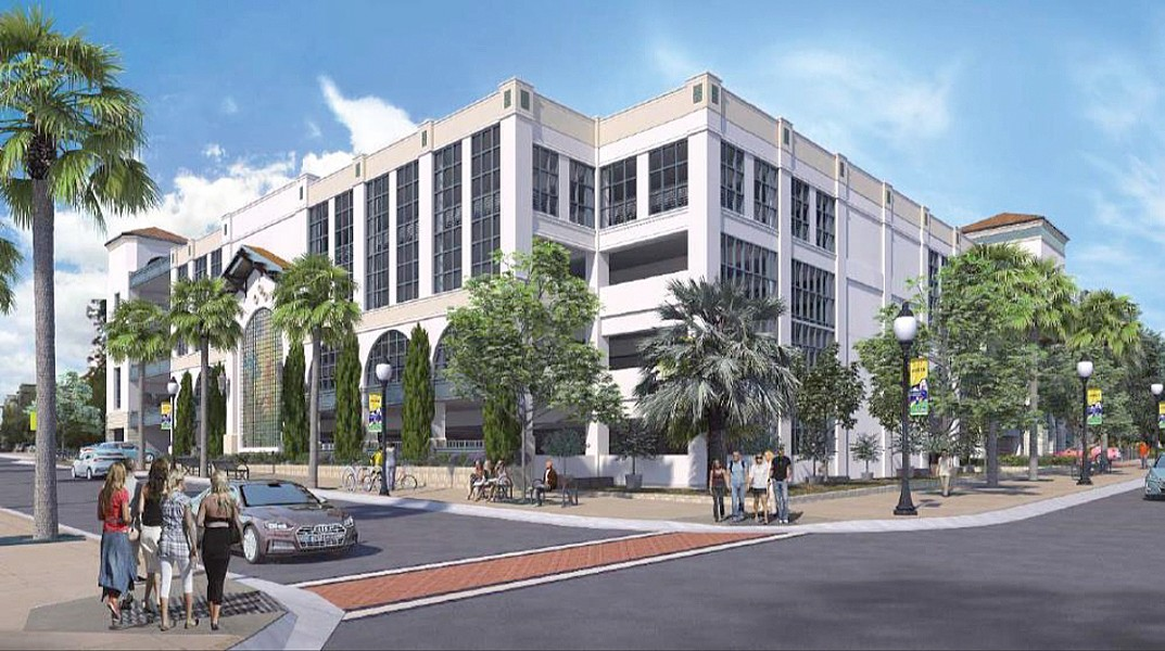 APPROVED A new performing arts center and parking garage (rendered here) are coming to the corner of Monterey/Palm and Nipomo streets in downtown SLO. - SCREENSHOT COURTESY OF THE CITY OF SLO