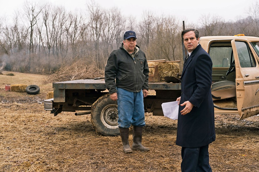TROUBLED WATERS Farmer Wilbur Tennant (Bill Camp, left) enlists attorney Robert Bilott (Mark Ruffalo) to take on chemical giant DuPont, which is knowingly poisoning people with its Teflon products. - PHOTOS COURTESY OF KILLER FILMS