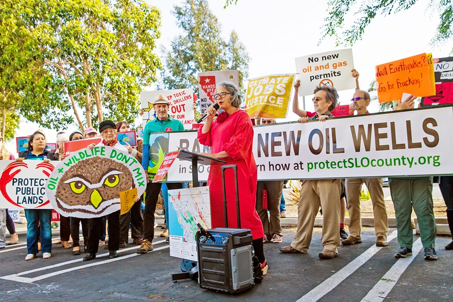 FRACKING POTENTIAL In May, SLO County residents protested the Trump administration's plans to open up federal land, including acreage on the Central Coast, to oil drilling and fracking. - FILE PHOTO BY JAYSON MELLOM