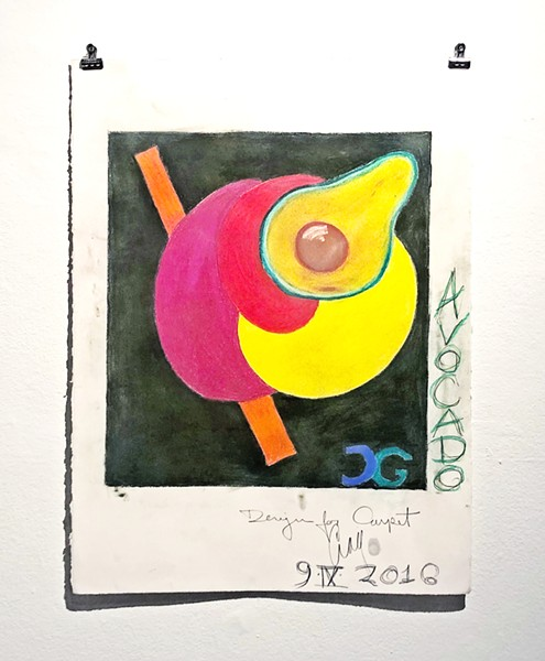 FUN WITH FOOD Craig Griswold's bright and funky Avocado (design for carpet) shows his ability to execute vivid colors on the page. - PHOTO BY MALEA MARTIN