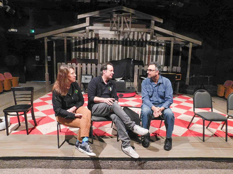 IN THE THEATER After a rehearsal, director Suzy Newman, actor Kevin Harris, and Michael Kaplan of Transitions-Mental Health Association discuss Every Brilliant Thing, a play about depression, suicide, and hope. - PHOTO COURTESY OF SLO REPERTORY THEATRE