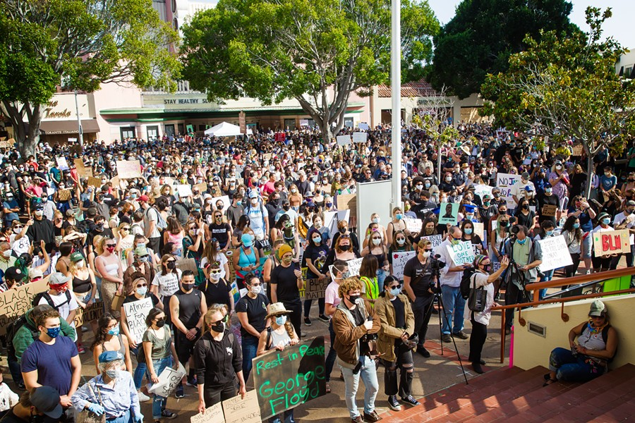 CROWDED STREETS Thousands of supporters converged around the courthouse in downtown SLO on June 3 to rally against police violence. - PHOTO BY JAYSON MELLOM