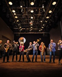 PHAT AND SASSY Brass Mash continues their monthly dinner show at Liquid Gravity on April 2.