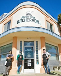 MEAT EMERGENCY Geoff and Jillian Montgomery and Evan Martz (left to right) opened the Morro Bay Butcher and Deli in December 2020 to serve local, high quality meat and more to the community.