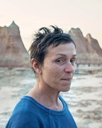 FINDING HER WAY After her husband dies and she loses her job, Fern (Frances McDormand) takes to the road in search of work, discovering a whole community of modern-day nomads like herself, in Nomadland, screening on Hulu.