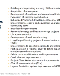 ONE-TIME FUNDS The American Rescue Plan Act gives jurisdictions a unique opportunity to fund projects that might have otherwise sat on the backburner for years to come. These are a few of the big picture projects the Santa Barbara County Board of Supervisors has in mind.