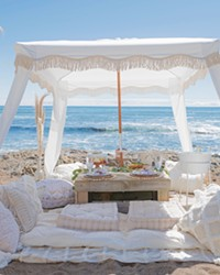 BEACH VIBE Cayucos Picnic Co. can erect custom luxury picnics anywhere on the Central Coast, from beach locations, such as here in Cambria, to your own backyard.