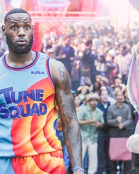 TEAM WORK LeBron James teams with Bugs Bunny and other cartoon characters to win a basketball game and save his son, himself, and his family from being trapped inside a computer network, in Space Jam: A New Legacy, in local theaters and on HBO Max.