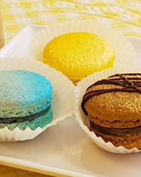 'BEAUTY AT FIRST SIGHT' Food blogger Nancy Waltz sampled blueberry cream, lemon, and chocolate flavors at Monika's Macarons in San Luis Obispo on July 31.