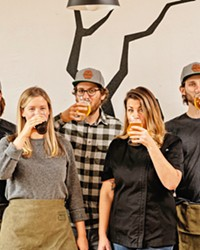 THIS IS HOW WE BREW IT The Pair With Dead Oak team includes, from left, operations manager Alex Marter, co-owner Nikki Kaltenberg, co-owner and brewer Jesse Kaltenberg, co-owner and chef Rachel Ponce, and manager of sales and distribution Sam Pechacek.