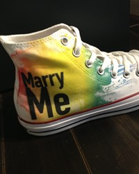 NEW SHOES BLUES :  San Francisco's Converse store came out in support of Pride and the recent Supreme Court decisions involving gay marriage.