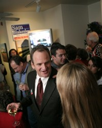 A WINNING PARTY :  Supporters of Sam Blakeslee, the Republican winner of the 33rd Assembly district race, gathered early at Corner View Restaurant in San Luis Obispo to celebrate.