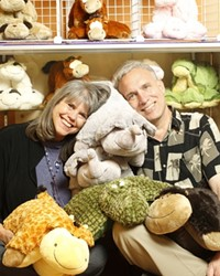 PETS YOU NEVER HAVE TO FEED :  Anita Halcyon (pictured with her husband, Dave Karpowicz) owns Anita's Pillow Pets, which sells functional stuffed animals.