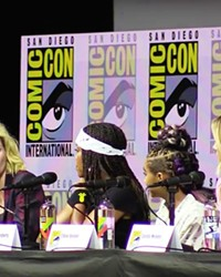 GIRL POWER  Jodie Whittaker (far left), talks feminism in media, with Camila Mendes, Chloe Bennet, Amandla Stenberg, and Regina King, on the Women Who Kick Ass panel at San Diego Comic-Con.