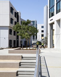 LIVING CULTURE Each building in the new residential community at Cal Poly is named after a local place and features cultural murals and elements of the yak titu titu yak tihini tribe.