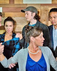WE STILL GO ON As Diana (Veronica Suber, center) grapples with bipolar disorder, everyone in her life—her husband, Dan (Gary Borjan); daughter Natalie (Julia Seibert) and her boyfriend, Henry (Phineas Peters); therapist Dr. Madden (Ritchie Bermudez); and the memory of her deceased son, Gabe (Elliot Peters)—navigates the illness in their own way.