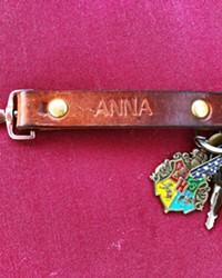 KEY TO HER HEART My wife loves her hand-tooled leather key fob she got at Brian and David's wedding. It turns her keys into a weapon!