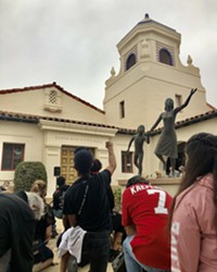 MOMENT OF SILENCE Protestors kneel for eight minutes and 46 seconds of silence in memory of George Floyd outside Santa Maria City Hall.