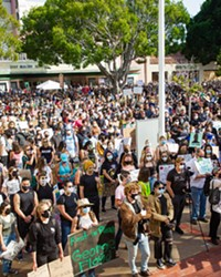 CROWDED STREETS Thousands of supporters converged around the courthouse in downtown SLO on June 3 to rally against police violence.