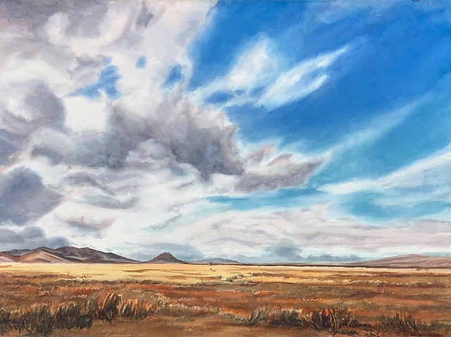 BOUNDLESS This 22-by-30-inch watercolor was also developed in the studio from many plein air paintings done over the years at the Carrizo National Monument. - COURTESY IMAGE BY ROSANNE SEITZ