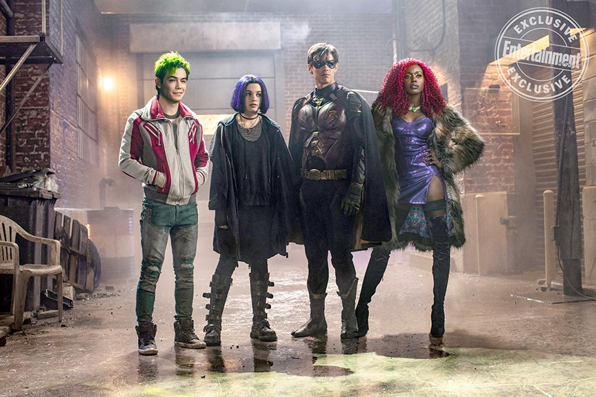BADASS MISFITS Titans, screening on HBO Max, explores the making of young superheroes such as (left to right) Beast Boy (Ryan Potter), Raven (Teagan Croft), Robin (Brenton Thwaites), and Starfire (Anna Diop). - PHOTO COURTESY OF DC ENTERTAINMENT AND WARNER BROS. TELEVISION