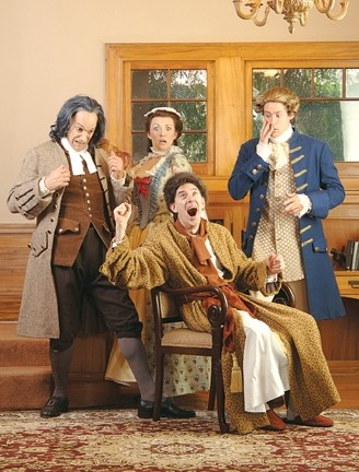 MANIA AND HYSTERIA :  (front) William Youmans as Silas Argan, (back, l-r) Benjamin (David Meyers), Abigail (Vanessa Ballam), and Nathaniel (Tobias Shaw) ham it up in PCPA's production of The Imaginary Invalid. - PHOTO COURTESY OF LUIS ESCOBAR/ REFLECTIONS PHOTOGRAPHY STUDIO