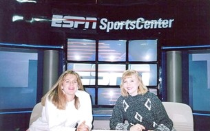 "DOUBLE TAKE!:  CJ Silas (left), pictured on the set at ESPN in 1992, writes of this photo, ""With one of my closest friends and biggest supports, Shireen Saski, or as I like to call her, 'me.'"" - PHOTO COURTESY OF CJ SILAS"