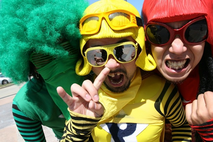 "DON'T EAT THE BROWN ACID :  Peelander-Z plays a free in-store at Cheap Thrills followed by a show at Mother's Tavern on April 1, bringing its NYC-based Japanese ""action comic"" punk style to the Central Coast. - PHOTO COURTESY OF PEELANDER-Z"