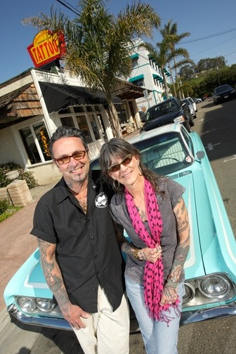 PULSATING :  Owners Jack and Donna D'Amore are the buzz at the Art with a Pulse tattoo shop in Pismo Beach. - PHOTO BY STEVE E. MILLER