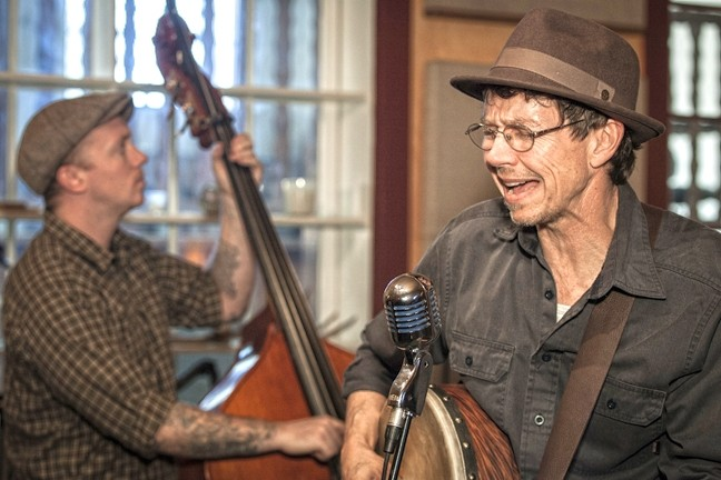 BALLADEER:  Stuart Mason (right, with bass fiddler Ryan Davidson, left) plays two concerts this week: May 29 at SLO House Concerts and May 30 at Painted Sky Studios. - PHOTO COURTESY OF STUART MASON
