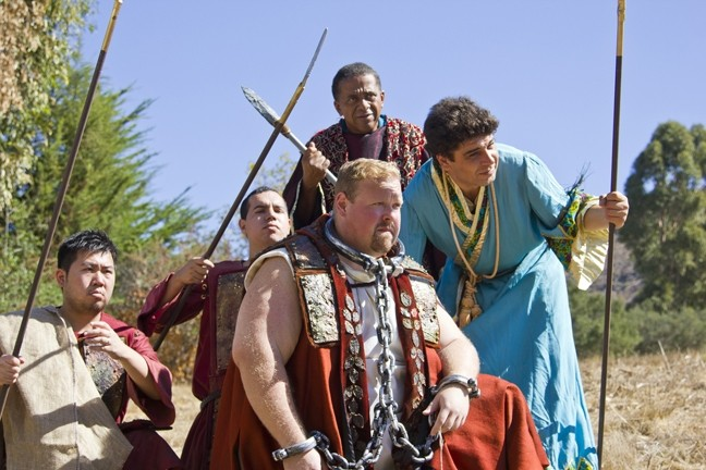 DEATH OR GLORY:  Ben Galley (front left) plays Radamès, an Egyptian military commander, facing judgment for treason against the court. - PHOTO COURTESY OF BRIAN ASHER ALHADEFF