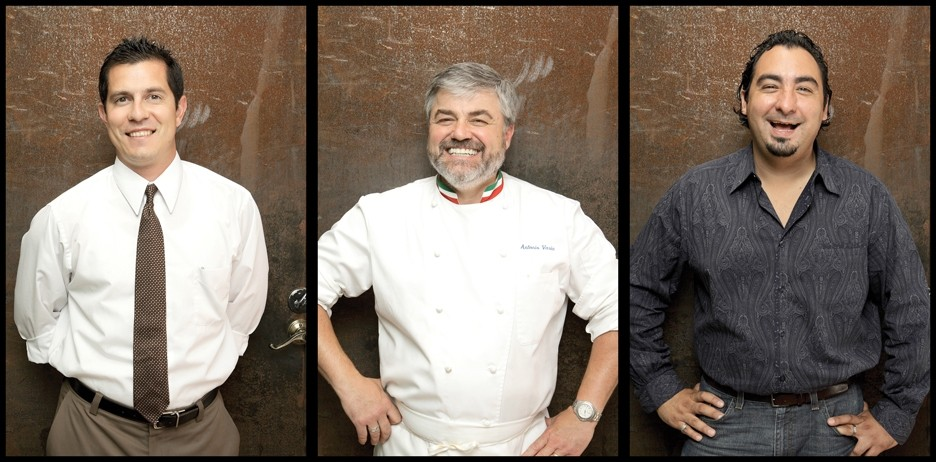 SMILES WELL EARNED:  Antonio Moline, the manager of Buona Tavola; Antonio Varia, the chef and restaurant owner; and Christian Mandarino, the marketing manager of Buono Tavola make diners exceedingly happy. - PHOTO BY STEVE E. MILLER