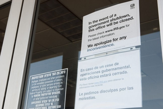 DEATH AND TAXES:  Though they're said to be one of life's two absolute certainties, the Internal Revenue Service office in Santa Maria has been shuttered during the partial federal government shutdown. - PHOTO BY STEVE E. MILLER