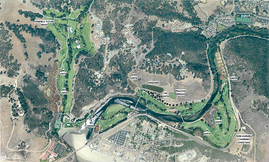 DESTINATION: GOLF:  Shown in this schematic are plans for an additional 144 lodging units, a funicular, an amphitheater, a small vineyard, and a narrow-gauge rail loop on the existing Avila Beach Golf Resort property north of downtown Avila. Owner Rob Rossi submitted an application for a permit to authorize the changes on Feb. 13. - PHOTO COURTESY OF SLO COUNTY PLANNING DEPARTMENT