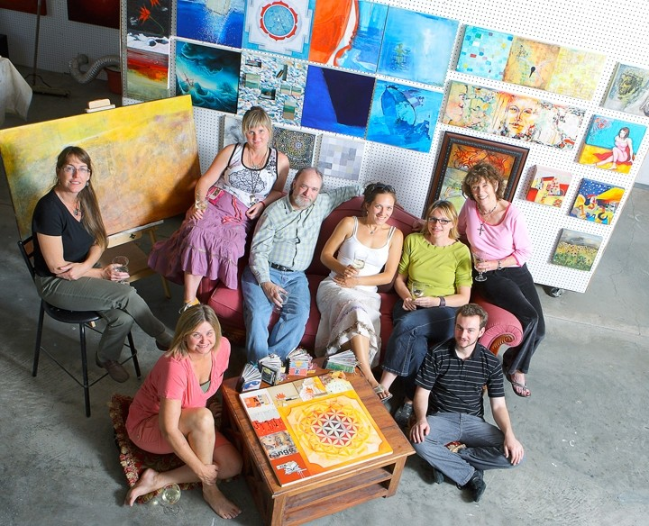 GUTSY COLLABORATORS :  (l-r) Glynis Chaffin-Tinglof, Carol Paquet, Sarah Winkler, Stephen Olson, Pacha Hornaday, Anne Stahl, Drew Davis, and Ellen Jewett create holons as part of the SLO-born Holonic Arts Movement. - PHOTO BY STEVE E. MILLER
