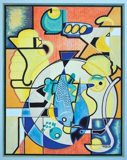 STILL LIFE WITH PITCHER, 1954: - ARTWORK BY NICO VANDENHEUVEL