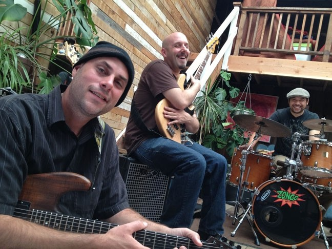 FUNK IN THEIR TRUNK:  Power funk trio Solstice—(left to right) Jacob Odell, Dylan Johnson, and Jennings Jacobsen—also play this year's 2014 Zongo Time Traveler's Ball on Dec. 31 at the Los Osos Community Center. - PHOTO COURTESY OF SOLSTICE