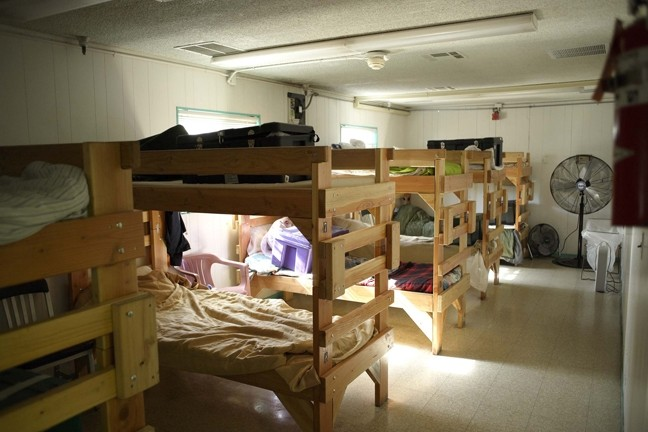 HELTER SHELTER:  San Luis Obispo's Maxine Lewis Memorial Shelter, pictured here, provides 50 beds for those in need, but lines are long, entrance policies are stringent, and the shelter itself is aging. - FILE PHOTO BY STEVE E. MILLER