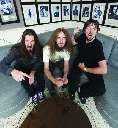 SUPERGROUP! :  (left to right) Bryan Beller, Guthire Govan, and Marco Minnemann are the Aristocrats, playing SLO Brew on Jan. 31. - PHOTO COURTESY OF THE ARISTOCRATS
