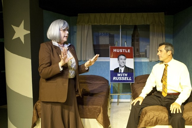STAND BY YOUR MAN :  Alice Russell (Janice Peters, left) stands by her husband, former Secretary of State William Russell (Daniel Freeman, right), as he tries to win the Democratic presidential nomination, in Gore Vidal's smartly written The Best Man, directed by Brent Keast. - PHOTO BY STEVE E. MILLER
