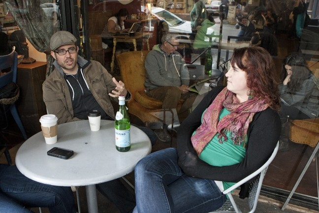 THE PEOPLE WITH THE PLAN :  James Whitaker and Grace Miller took a rare moment to sit down and chat about café life. - PHOTO BY STEVE E. MILLER