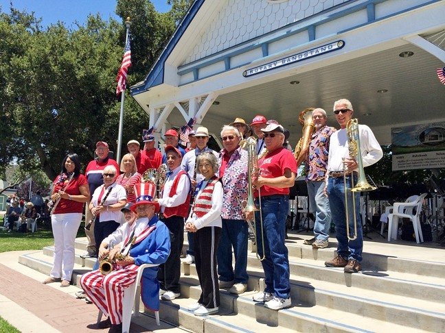 HAPPY B-DAY, 'MERICA! :  The ever-popular Village Band plays the Rotary Bandstand in the Village of Arroyo Grande on July 4. - PHOTO COURTESY OF THE VILLAGE BAND
