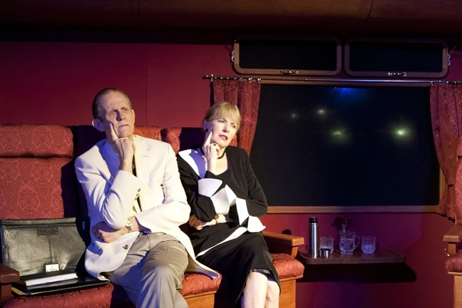 DESTINATON UNKNOWN:  Parsky (Michael Siebrass) and Martha (Gailee Walker Wells) are on a train bound for Frankfurt, but it is their mental trajectory that interests the audience. - PHOTO BY STEVE E. MILLER