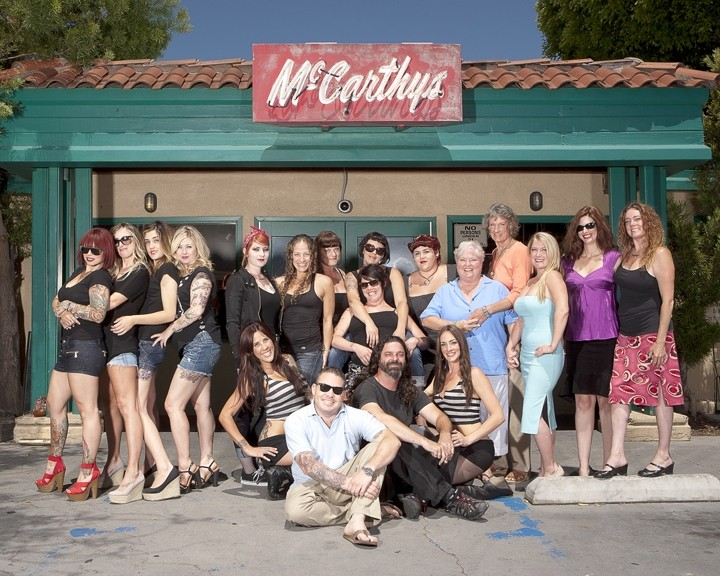 "THE GANG'S ALL HERE :  More than a dozen McCarthy's regulars donated their time as models for the ""Women of McCarthy's"" calendar, due for release on Nov. 1. - PHOTO BY STEVE E. MILLER"