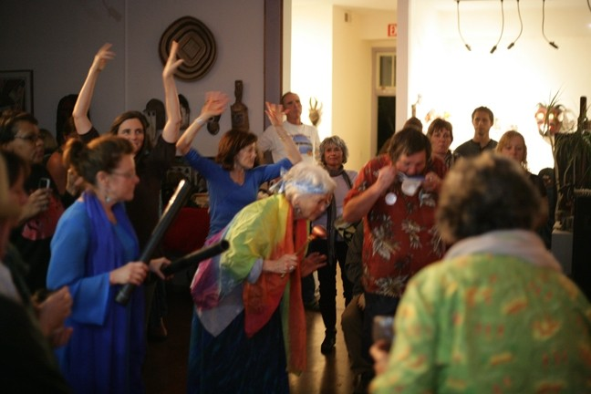 LET IT RAIN!:  A group of locals gathers at Steynberg Gallery to drum, dance, and pray for rain! - PHOTO BY GLEN STARKEY