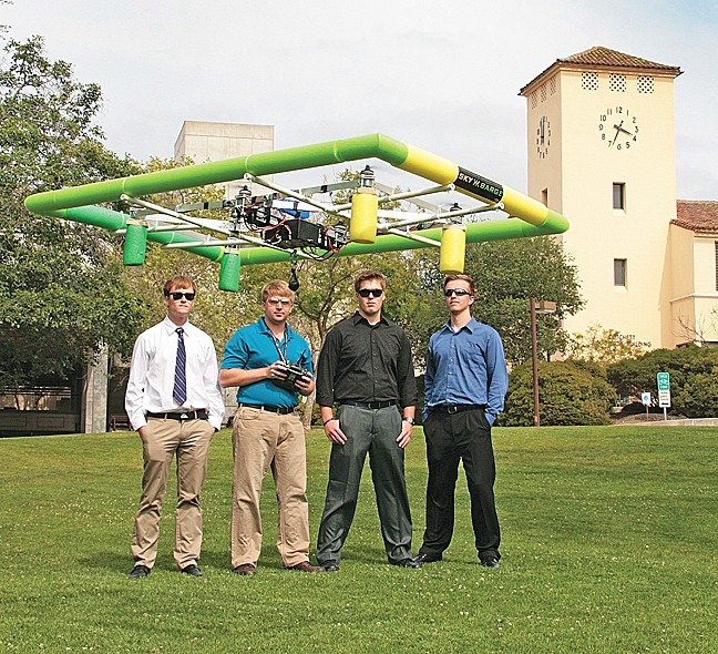 BARGING FORWARD:  The Cal Poly SkyBarge Team—(left to right) Gordon Belyea, Garret Gudgel, Ethan Juhnke, and Eric Dreischerf—took second place in November 2014 at the American Society of Mechanical Engineers Student Design Competition in Montreal. - PHOTO COURTESY OF CAL POLY